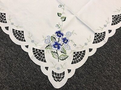 End Table Covers (Embroidered Blue Rose 45x45