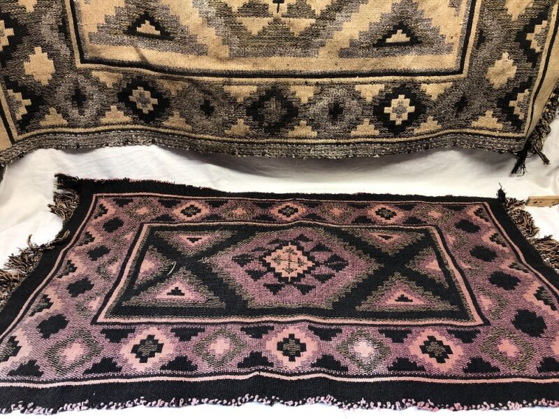 """Lot of 2 - Vintage Authentic Indian Blankets - Tan 48"""" x 30"""" & Purple 38"""" x 23"""""""