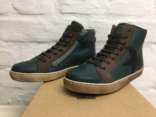 100% original Bisgaard 32 hohe Top Leder Sneakers Grün Oxid gefüttert Schuhe NEU