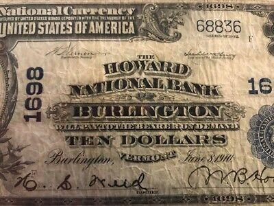 1902  10 Howard National Bank Burlington  Vt Vermont Pcgs 12   Serial  68836