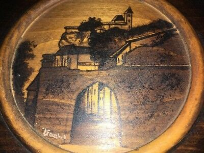 Unusual Wooden Old/Antique Circular Plaque With an Image of a Castle on a Hill