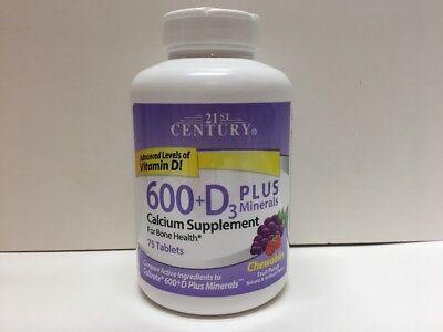 21St Century Calcium 600   D3 Plus Minerals 75Ct Chewables