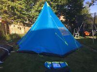 Trespass 6 Man Teepee Blue Tent 425x425cm USED - KIDS LOVE THESE!!!! READ!!!