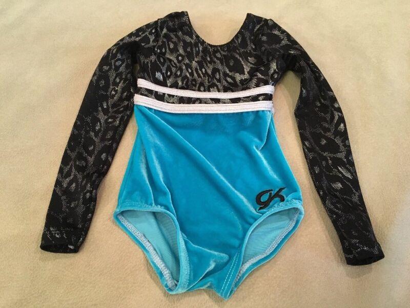 GK Elite Leotard Xs Childs Black Silver Foil Turquoise Velour Long Sleeve
