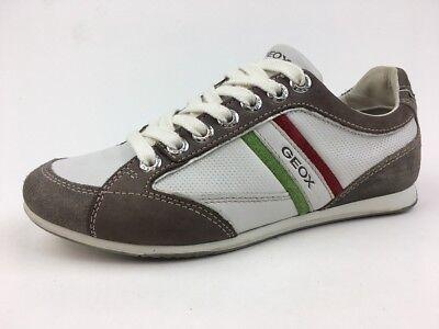 Geox Uomo Andrea P Tumb Leder + Veloursleder Weiß/Taupe Sneakers Größe Eur 39