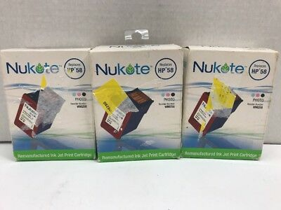 Nu Kote Color - 3 Pack Nukote Cartridge Replacement HP58 3 Color Ink Jet Print Cartridge  New