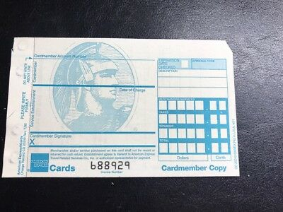 RARE AMERICAN EXPRESS (AMEX) CREDIT CARD CHARGE RECORD RECEIPT (UNUSED) A3