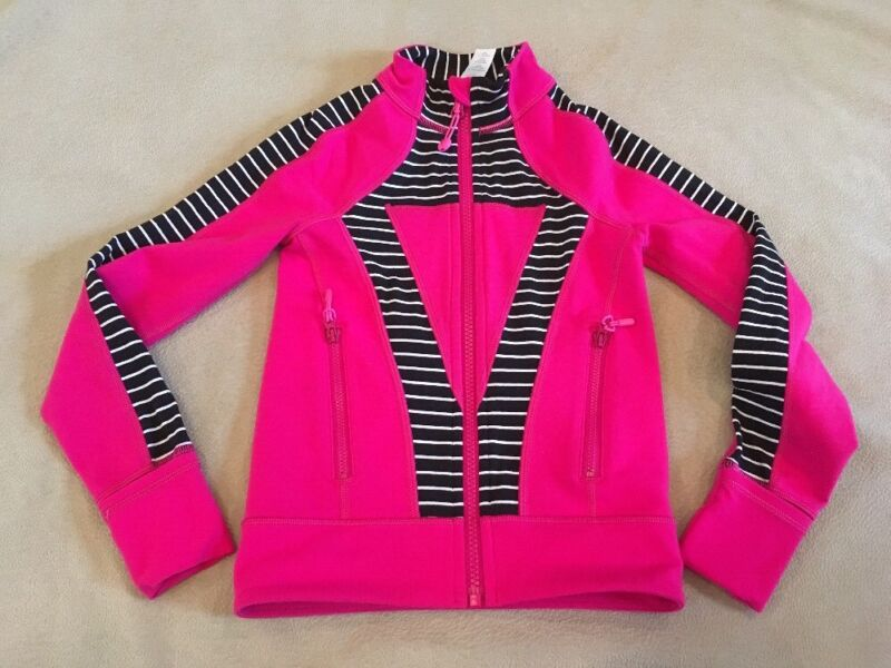 Ivivva Fitness Jacket 4 Girls Pink Black Striped Dance Gymnastics By Lululemon
