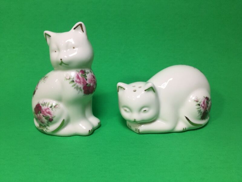 Formalities by Baum Bros Cat Salt & Pepper Shakers Porcelain Ivory Gold W/ Roses