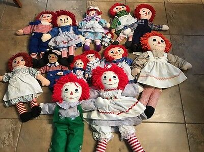 """Lot Of 16 Raggedy Ann & Andy doll, Floral Dress  24"""" ,10"""", 16"""", 8"""" Other Size"""