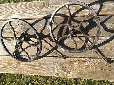 Antique VTG Singer Treadle Sewing Machine Cast Iron Fly Wheel Rod Steampunk PAIR