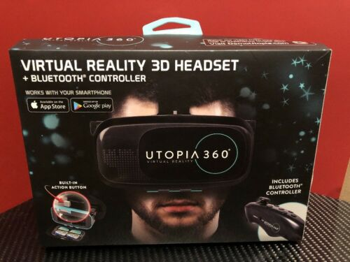 ReTrak UTOPIA 360 VIRTUAL REALITY 3D HEADSET + BLUETOOTH CONTROLLER NEW