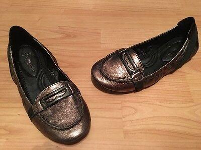 NEW B. Makowsky Classics Bronze Metallic Ballet Loafer Buckle Flats Shoes 7.5M for sale  Cypress