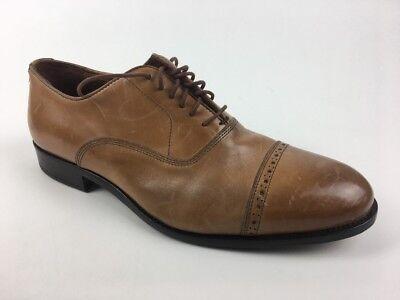 Cap Toe Nappa Oxford - MASSIMO MATTEO Nappa Nera men shoe oxford brown cap toe leather sole Sz. 8.5 W
