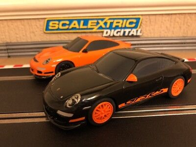 Scalextric Digital Porsches 997 GT3RS x2 / Fully Serviced & New Braids Fitted