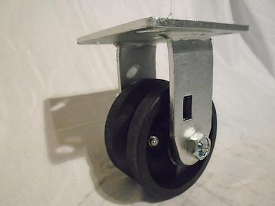 4 X 2 Rigid Caster 78 V-groove Iron Steel Wheel 600lbs