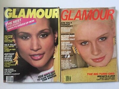 Lot Vintage GLAMOUR Magazines 1980 1983 2 Issues Models 80's Fashion