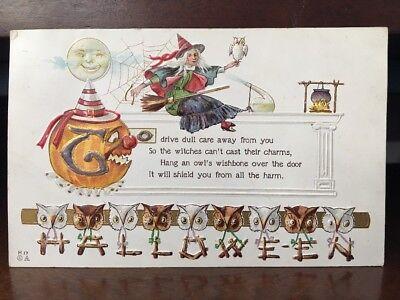 1918 Halloween Poem Owl Wishbone - Witch, Owls, Jack-o-lantern Z1 - Halloween Wishbone