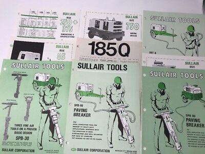 Lot of 9 Vintage Sullair Compressor Brochures Spec Sheets Specifications