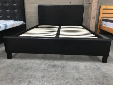 NEW PU Leather Metal Beam Bed Frame Black/White   Beds   Gumtree ...