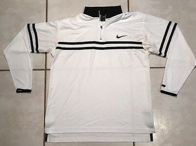 Vintage NIKE Dri-Fit Agassi WHITE  Warm Up Long Sleeve Tennis Shirt Men's Large