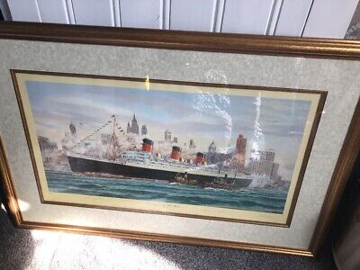The Queen Mary at New York. Limited Edition Print 697/850 by Simon Fisher Signed