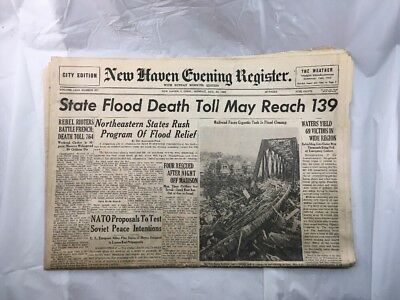 New Haven Evening Register Old Newspaper Connecticut Floods Old August 22 1955