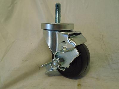 3 X 12 X 1-12 Threaded Stem Hard Rubber Wheel W Brake 275 Lbs