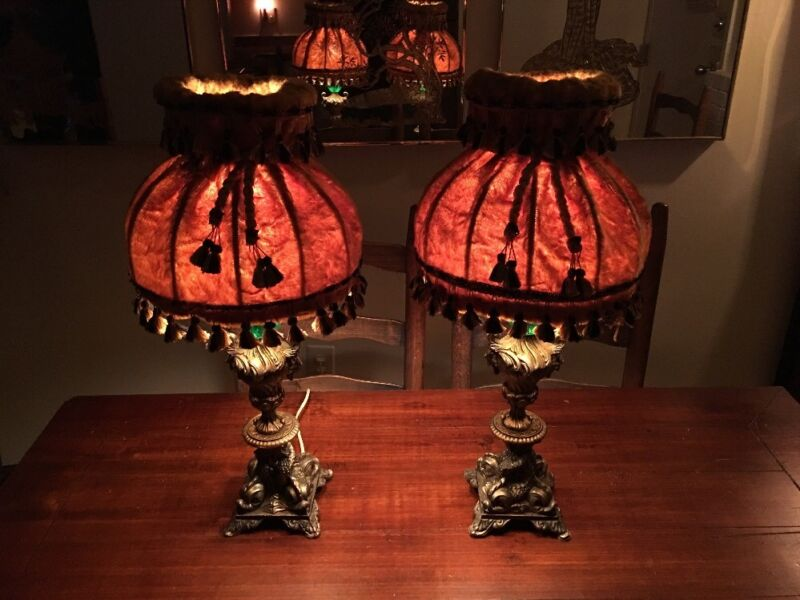 Victorian Velvet Type Lamps; 1 Pair; Bedroom Or Parlor;RARE