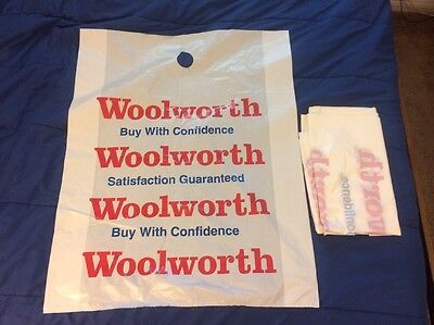 10 Extra Large Woolworth Plastic Shopping Bags