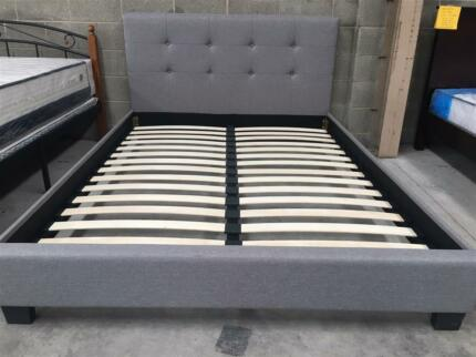 Special!!! Fabric Bed Frame in Grey/White