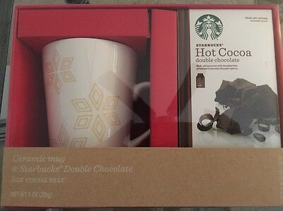 STARBUCKS HOT COCOA CHOCOLATE GIFT SET WHITE GOLD SNOWFLAKE COFFEE MUG NEW