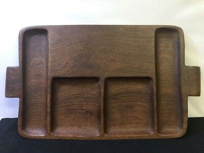 Solid Hand Carved Mahogany Vintage Serving Tray Desktop Valet B1