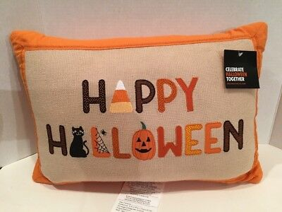 "Halloween Pillow Orange with Happy Halloween NWT Rectangle 18"" X 13"""