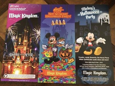 Walt Disney World Magic Kingdom Halloween Party Map Set 2017