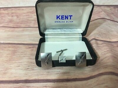 Kent Classic Vintage Diamond Cut Sterling Silver Rectangular Cufflinks & Tie Pin