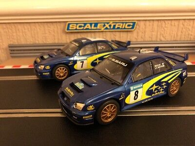 Scalextric Subaru No7 & No8 Both Fully Serviced & New Braids Fitted
