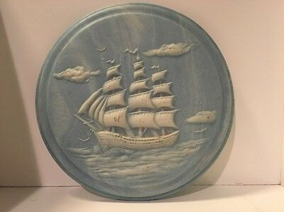 Wall Plaque Marble Stone Granite Blue Boat Ocean Decor Plate 8.5