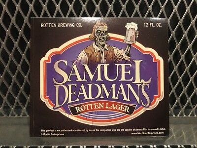 Halloween Beer Labels (SAM ADAMS BEER Mock Bottle Label ~ DEADMANS LAGER ~ Funny Halloween)