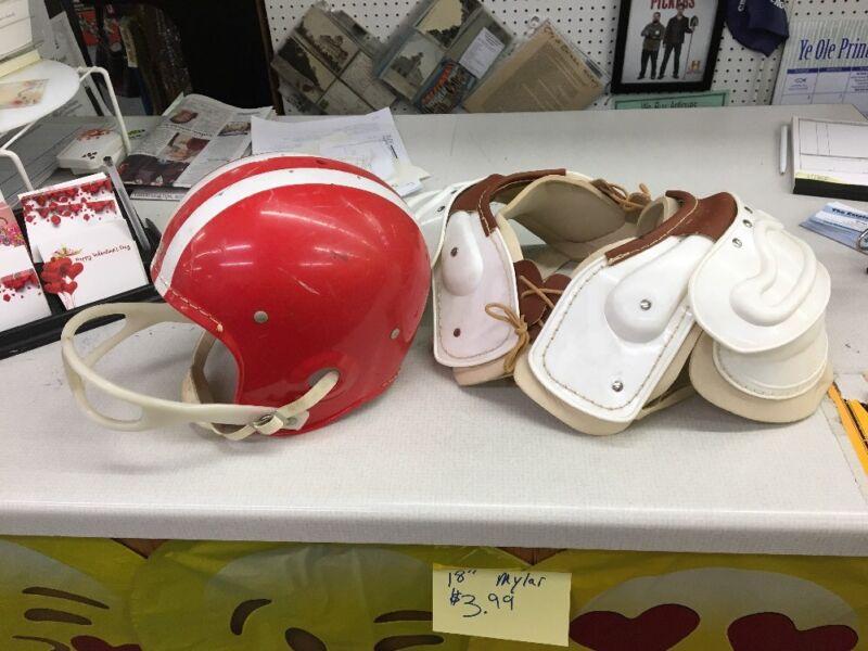 Wilson F2040-MED AW Red / White Vintage Football Helmet & shoulder pads