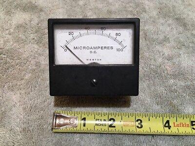 Vtg Panel Meter Boatanchor Transmitter Weston 0-100 Dc Microamperes Me322