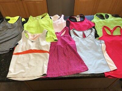 Lot Of 9 Women  athletic tank top built n sports bra M md Med running gym