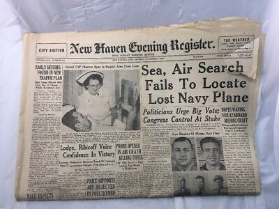 New Haven Evening Register Newspaper Connecticut Old Vintage November 1 1954