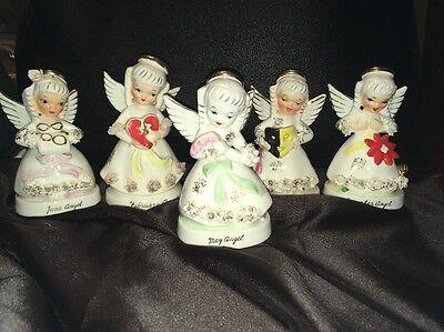 RARE UNPAINTED May Birthday Angel Vintage Napco Lot Of 5 Feb June Oct Dec