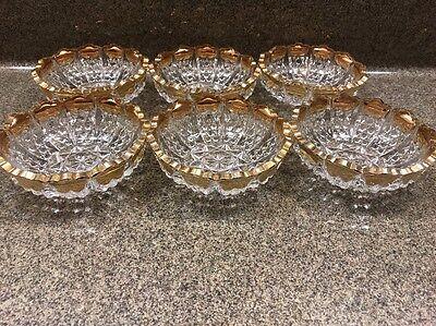 "Duncan And Miller Glass Button Panel 4.75"" Heavy Gold  Berry Dessert bowls"