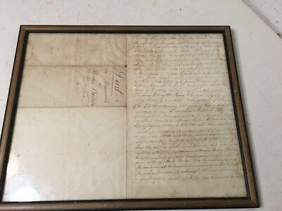 Important Antique Bristol RI 1799 Land Deed Parker Borden Ths Bosworth