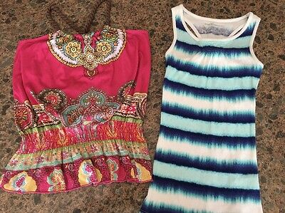 Girls Epic Threads Sleeveless Shirt Size 10/12 And Size Medium Tank Top Lot Of 2