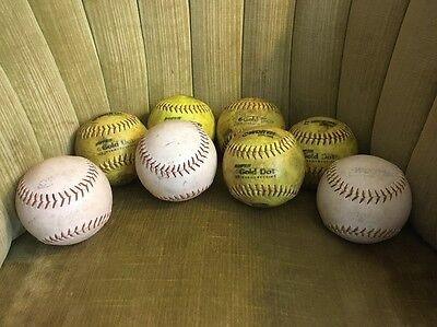 Worth ProTac Super Gold Dot Specialty Slowpitch Softball Lot of 8 White & Yellow