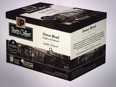Peet's Coffee K-Cup Away House Blend Dark Roast, 60 count K-cups 10 Packs Of 6