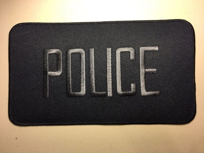 """Police Officer High Quality Embroidered Uniform Back Patch Blue/Blue 12"""" X 6"""""""
